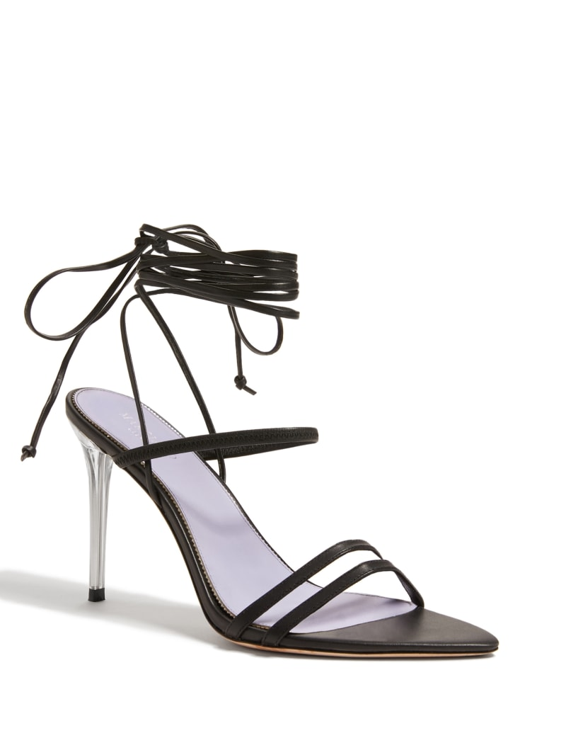 Strappy Lace-Up Heeled Sandal