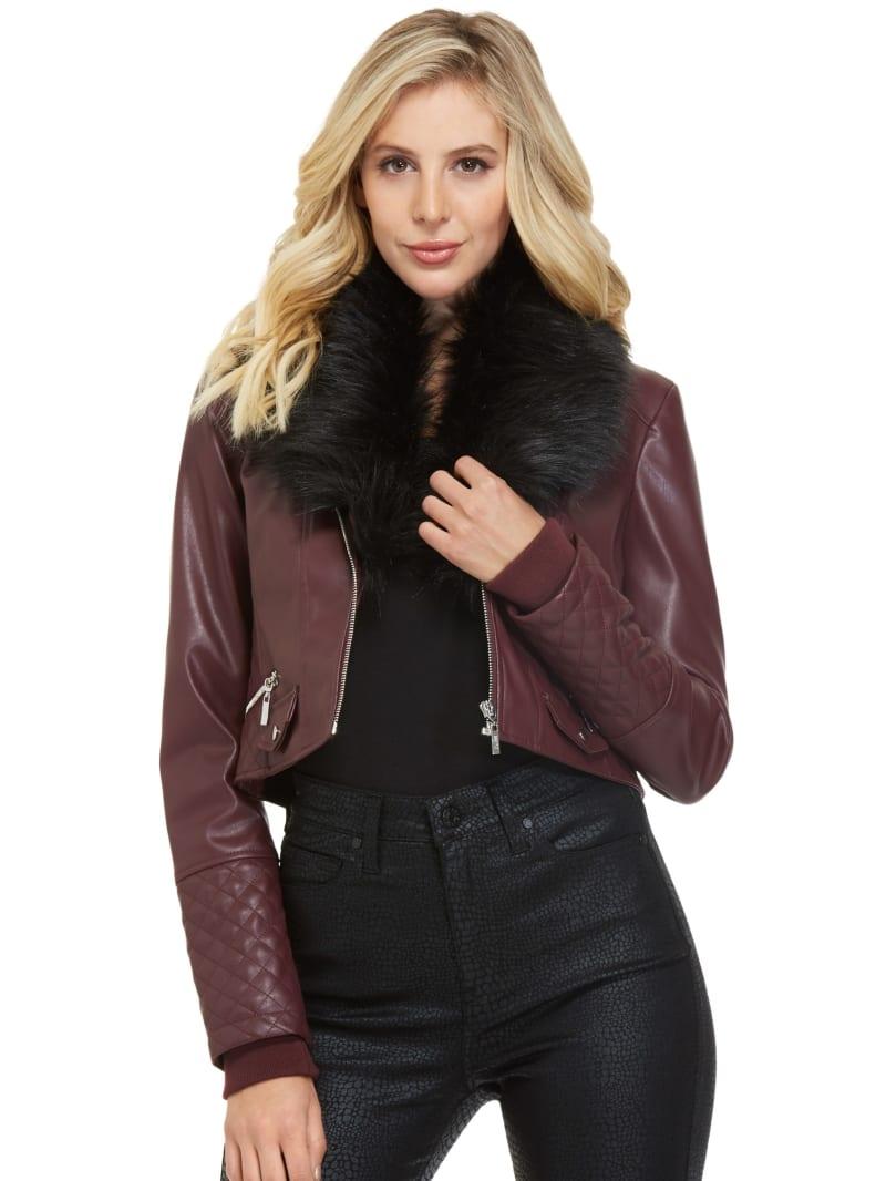 Dorion Faux-Fur Collar Moto Jacket