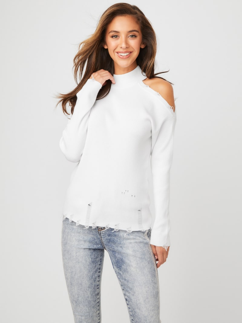 Caprice Cold Shoulder Distressed Top