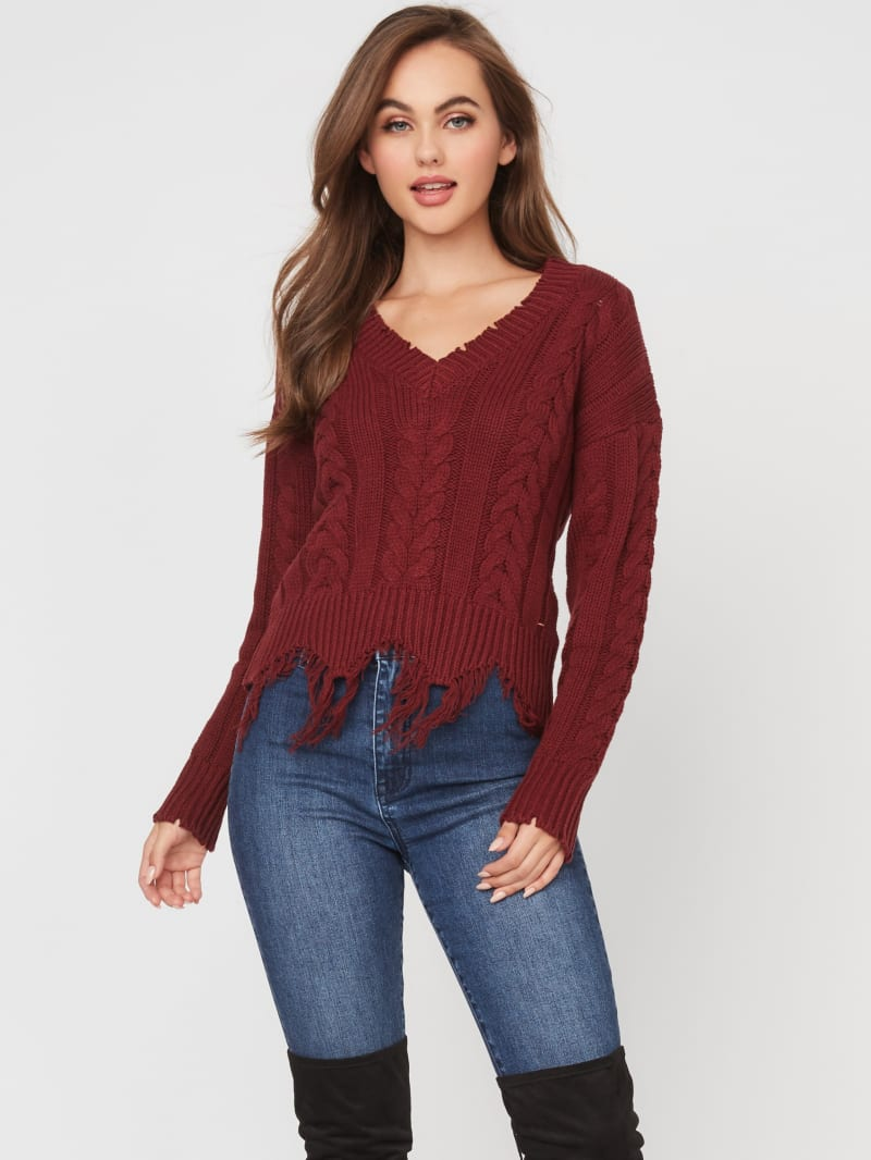 Yves Distressed Cable Knit Sweater