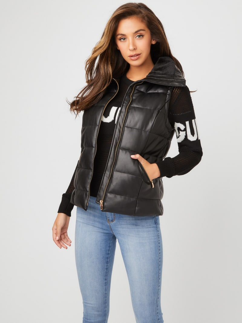 Marcelle Faux-Leather Puffer Vest