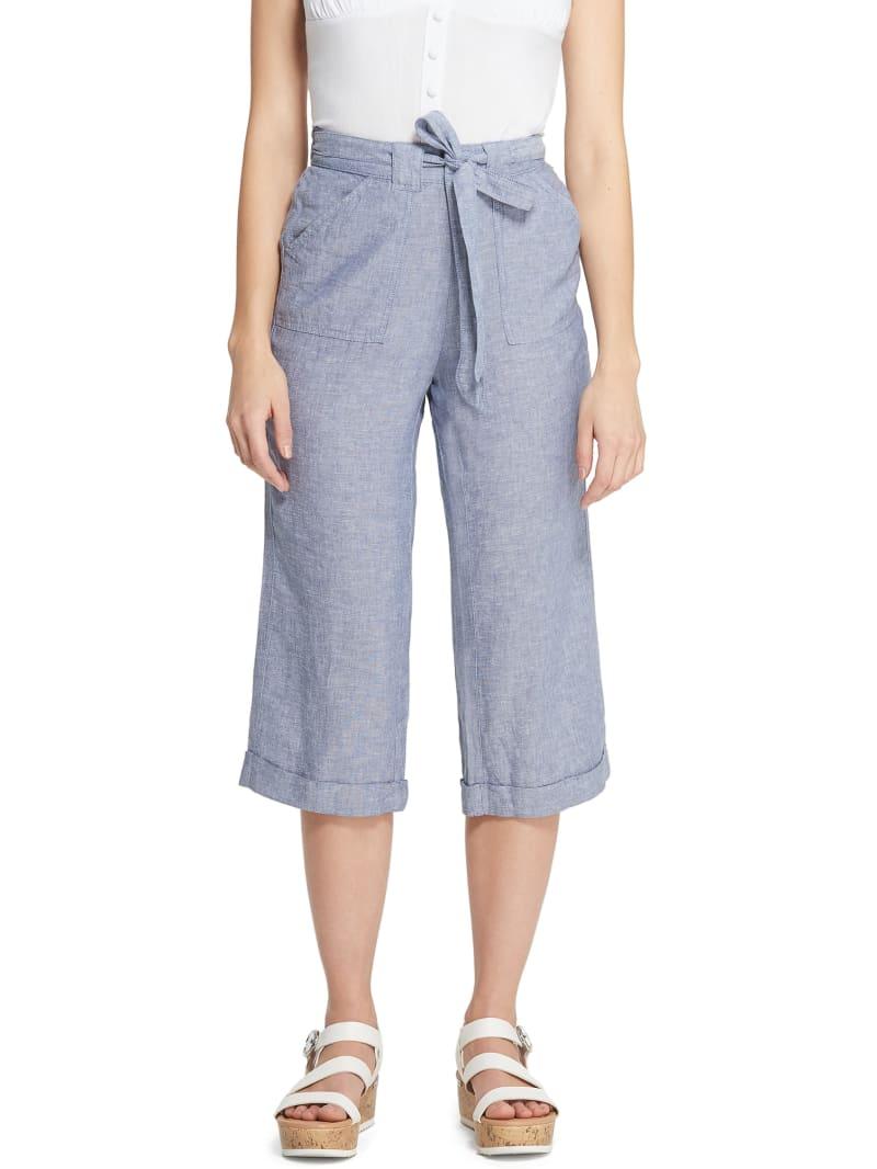 Reagan Wide Leg Linen Capri Pants