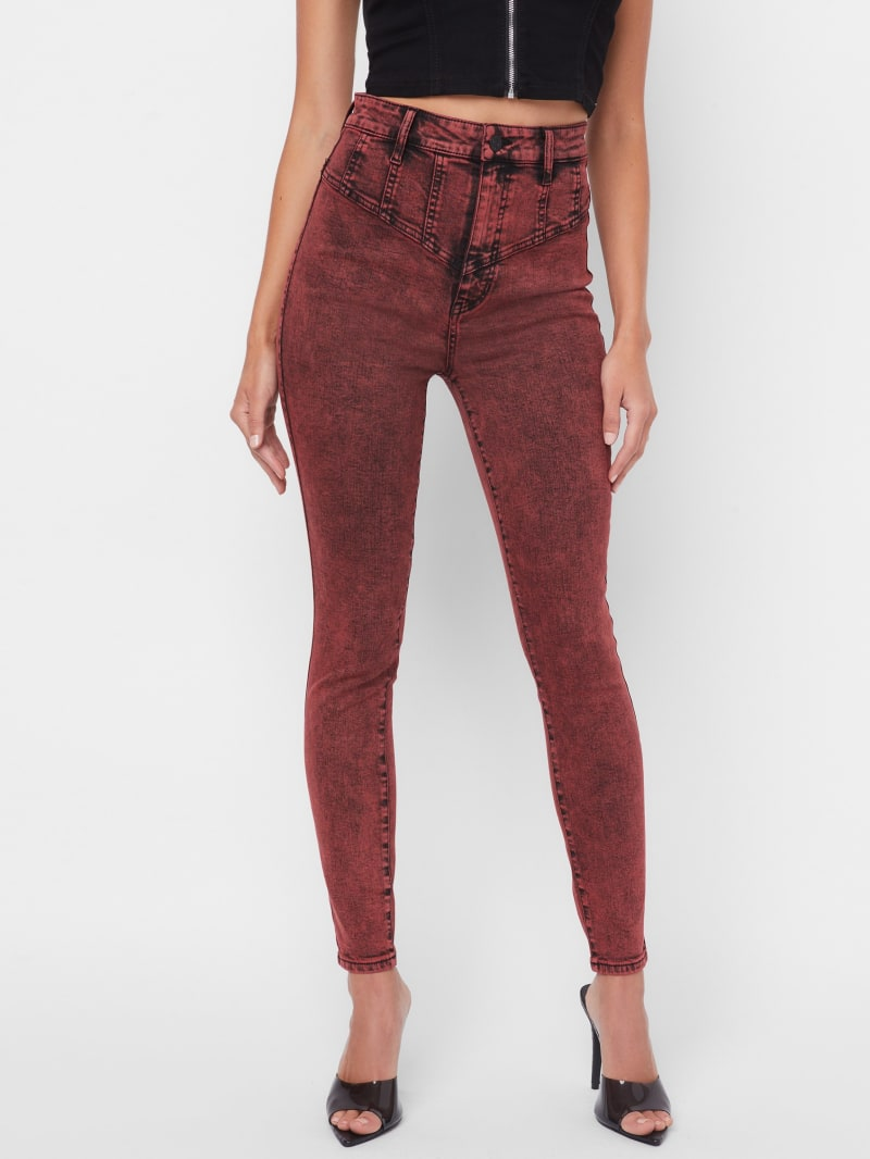 Joanne Super-High Rise Acid Wash Skinny Jeans
