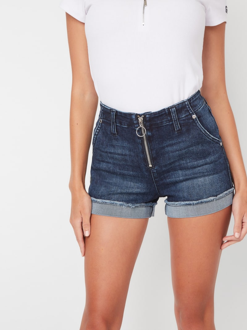 Ezra Mid-Rise Zip Front Denim Shorts