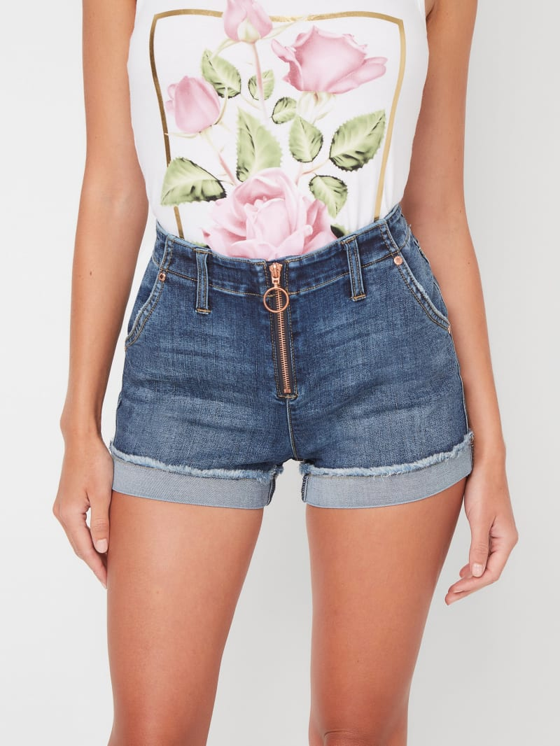 Ezra Mid-Rise Zip Front Denim Shorts