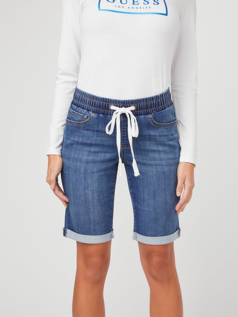 Alex Drawstring Denim Jogger Shorts