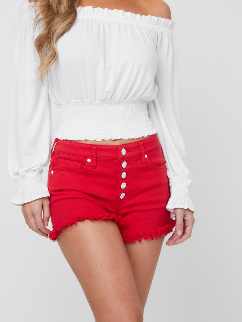 Emma Frayed Button-Front Shorts