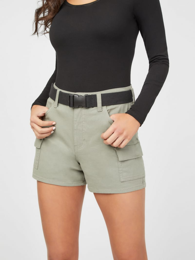 Miranda Cargo Buckle-Belt Shorts
