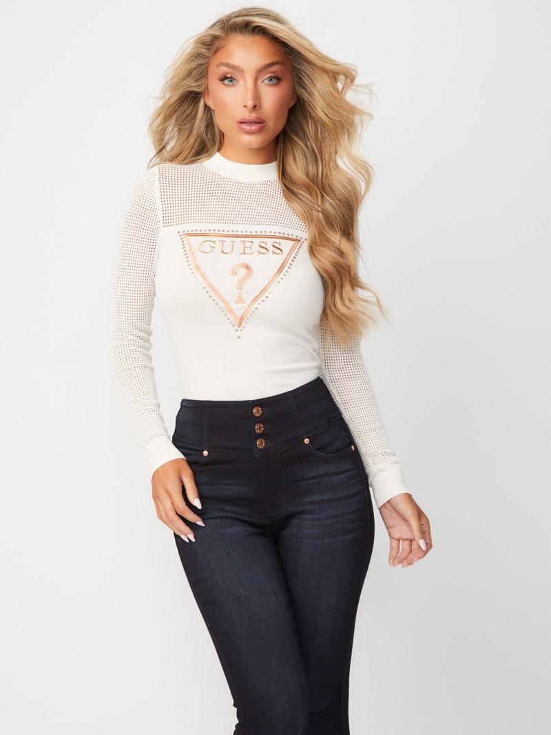 Pamela Mesh Mock-Neck Sweater