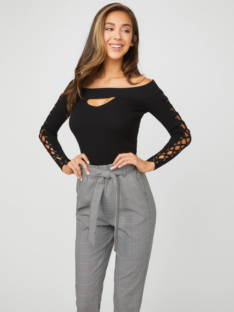 Waneta Off-the-Shoulder Lace-Up Sweater