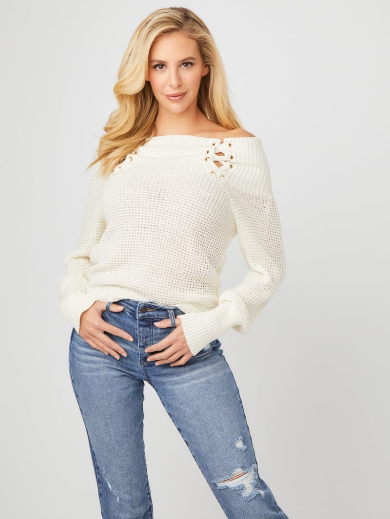 Journee Lace-Up Sweater