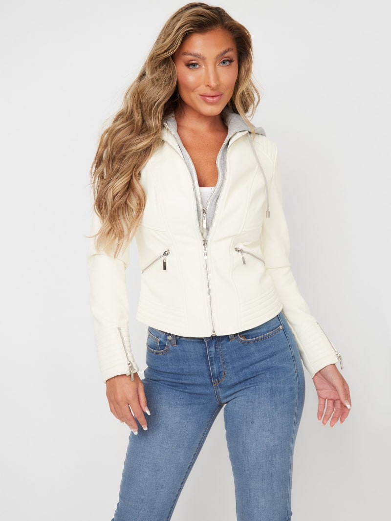 Nelly Hooded Faux-Leather Jacket