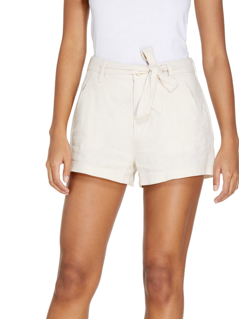 Reagan Tie-Belt Linen Shorts