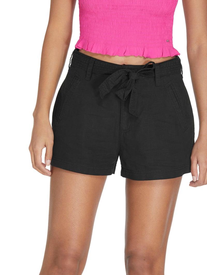 Reagan Tie-Belt Linen Shorts