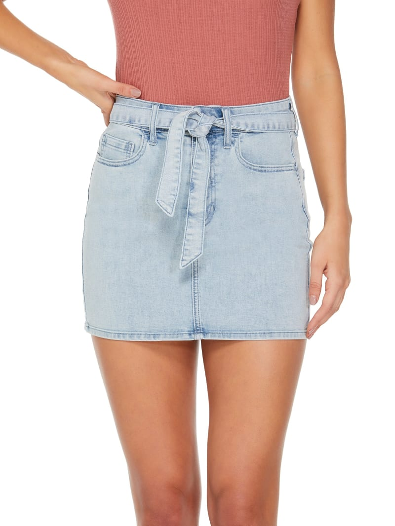 Corrie Tie-Waist Denim Mini Skirt