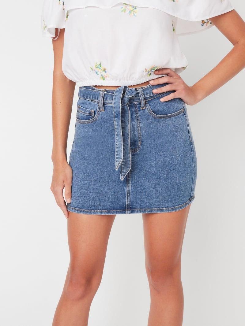 Corrie Tie-Waist Denim Mini Skirt