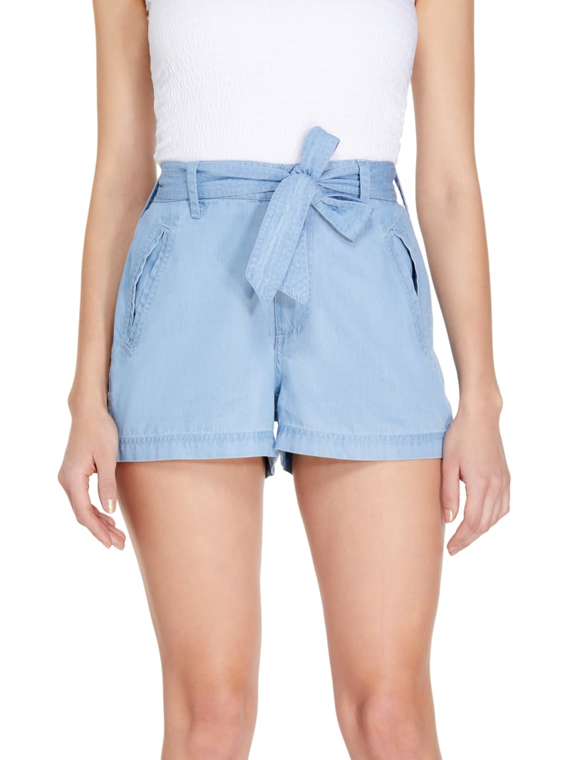 Reagan Tie-Belt Chambray Shorts