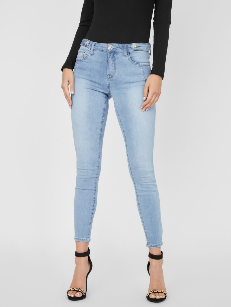 Ummah Rhinestone Mid-Rise Skinny Jeans