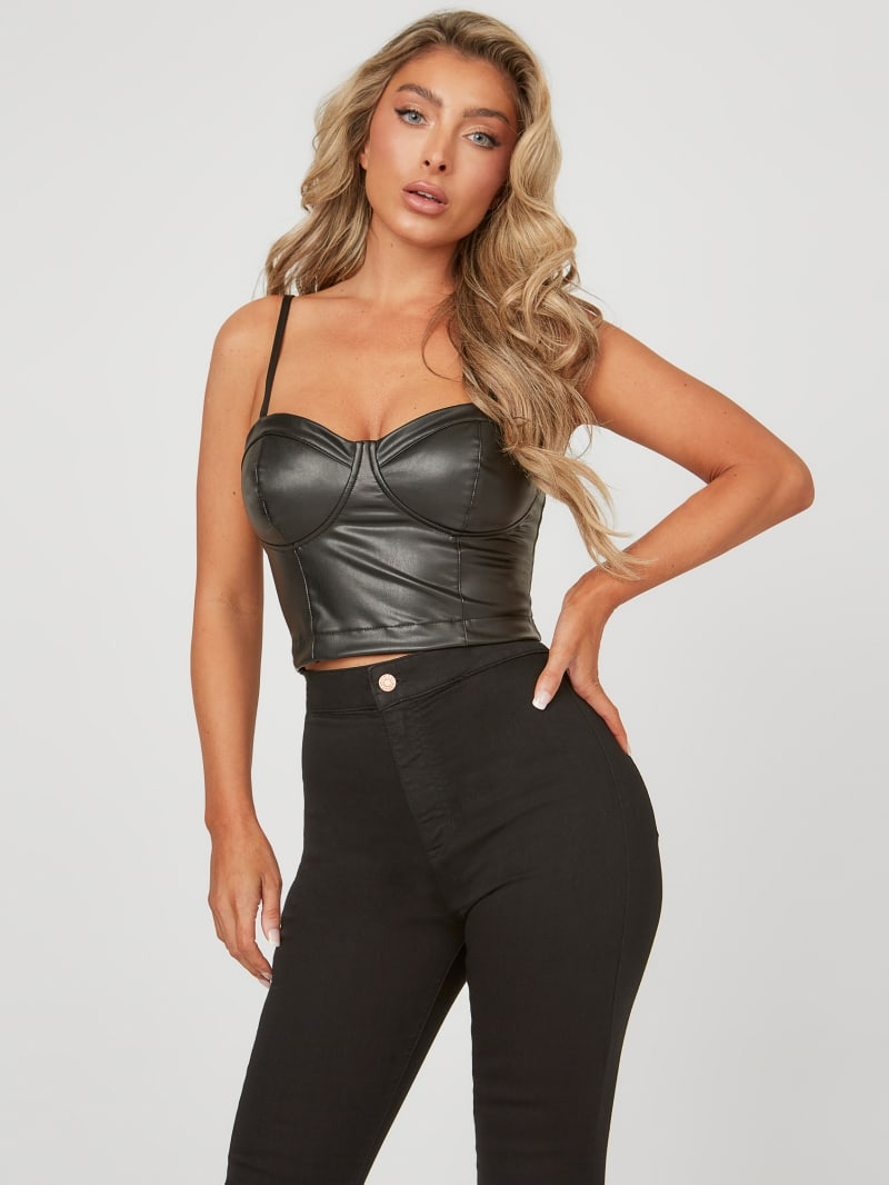 Janessa Faux-Leather Bustier