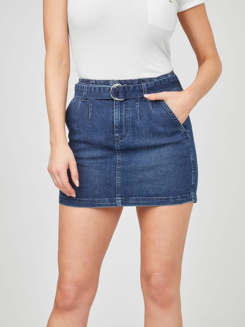Marsha Belted Denim Skirt