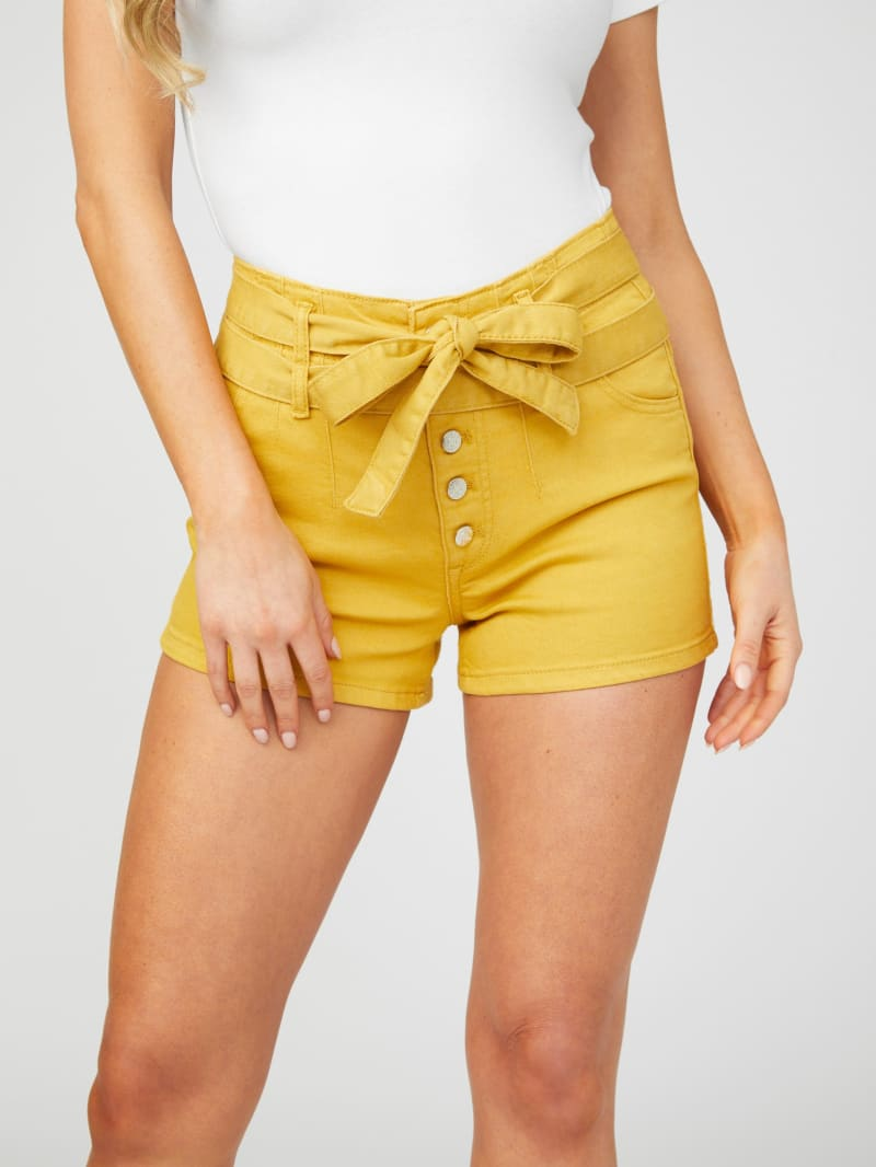 Magnolia Tie-Belt Denim Shorts