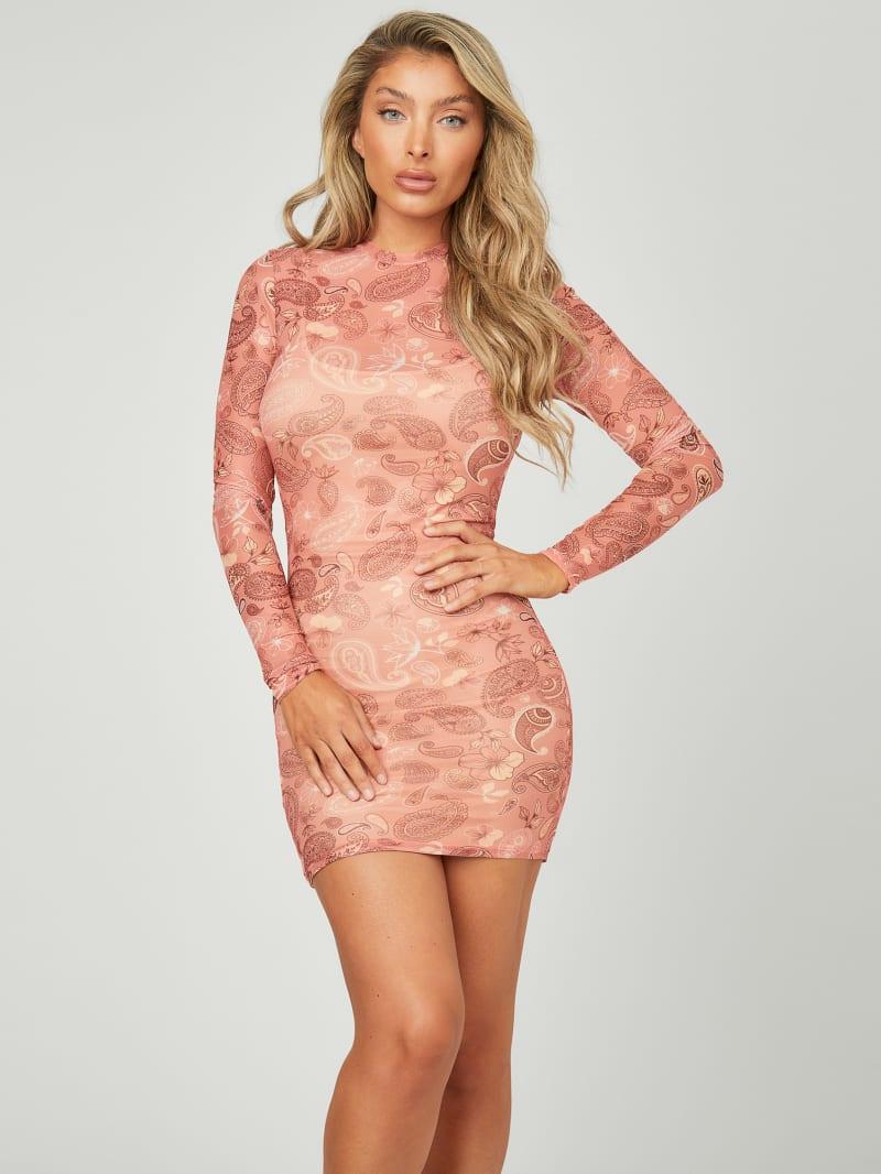 Creed Mesh Long-Sleeve Dress