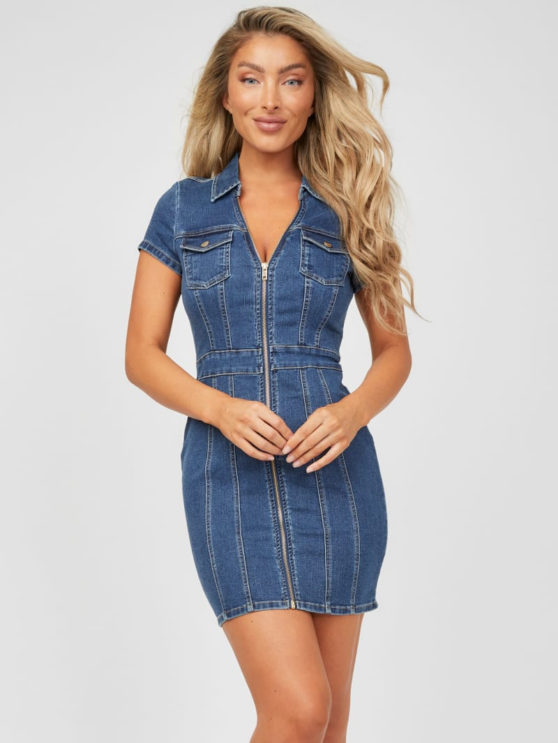 Nalani Zip-Front Denim Dress