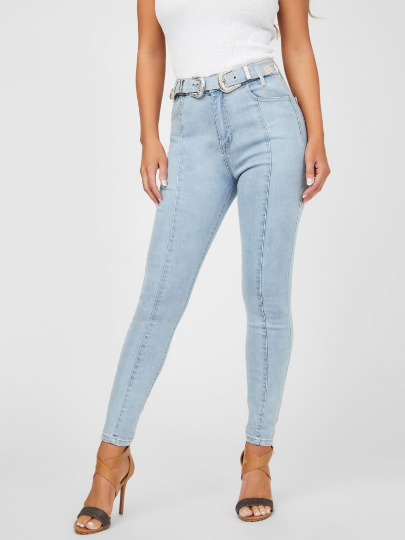Paige Belted Skinny Jeans