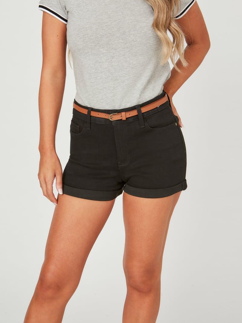 Nilla Belted Black Denim Shorts