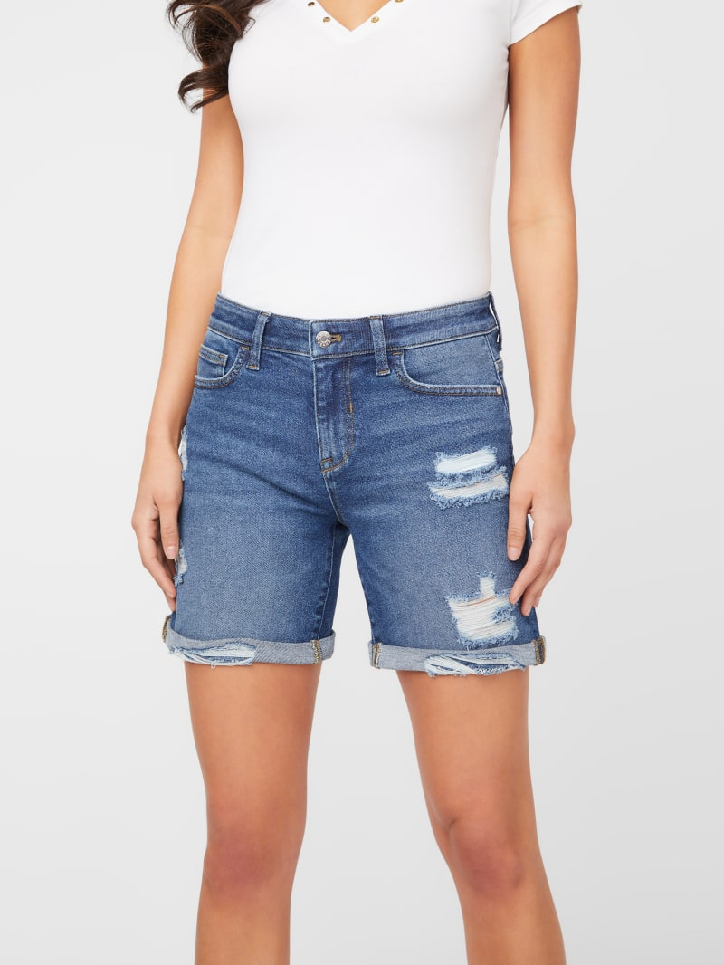 Masie Destroyed Midi Shorts