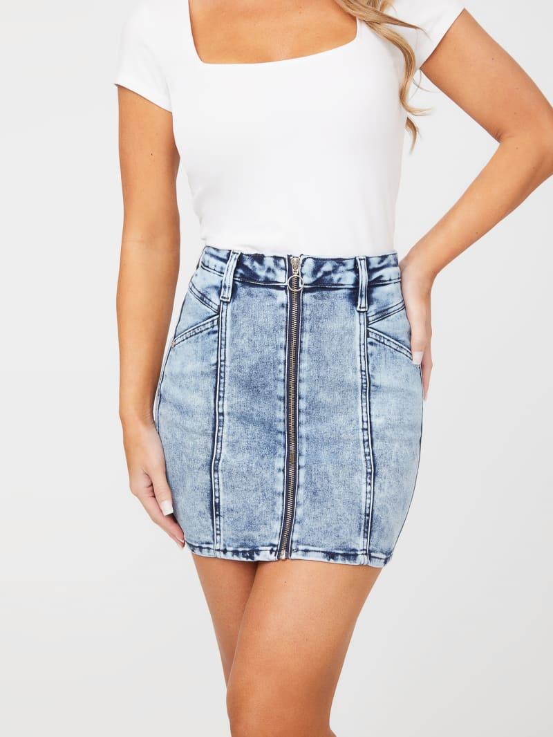 Georgia Zip-Front Denim Skirt