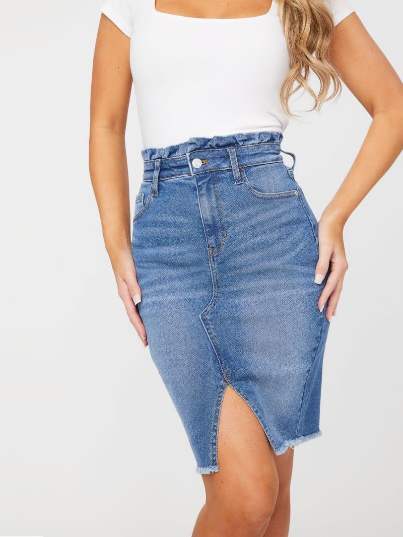 Delilah Ruffled Denim Midi Skirt