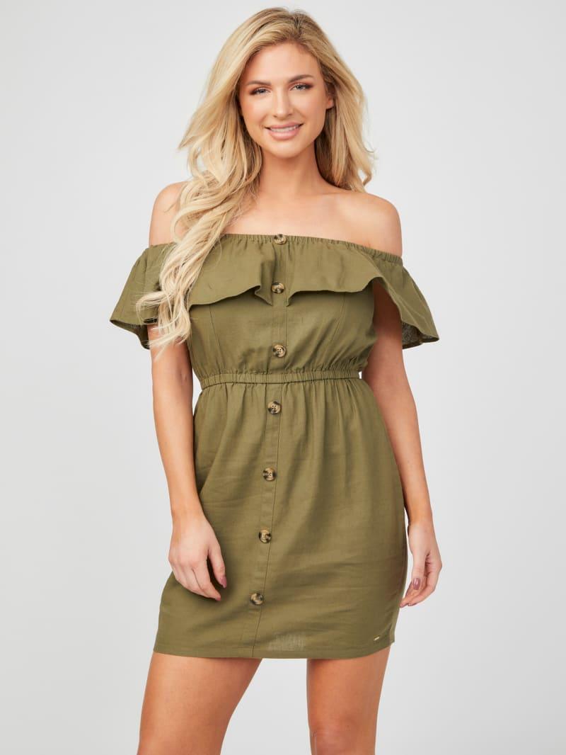 Galen Off-the-Shoulder Linen Dress