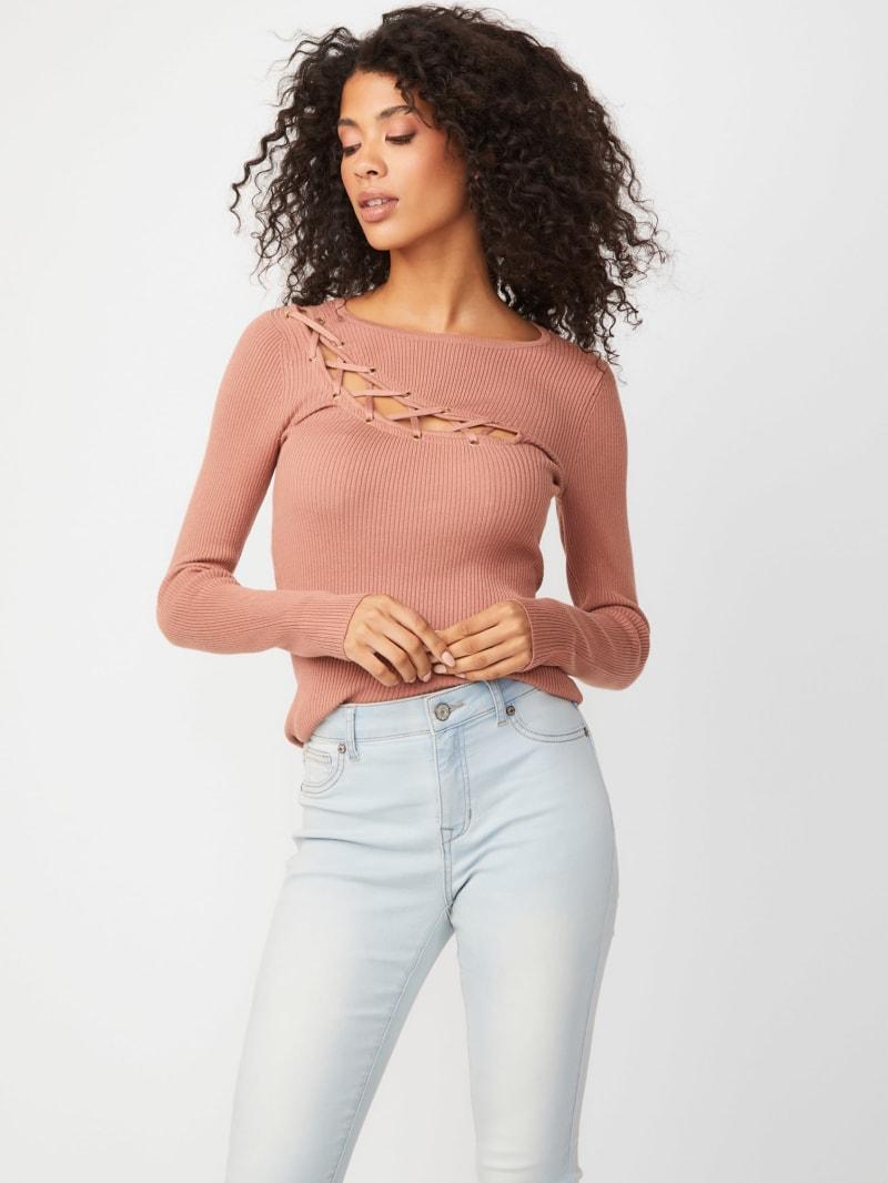 Mina Lace-Up Sweater