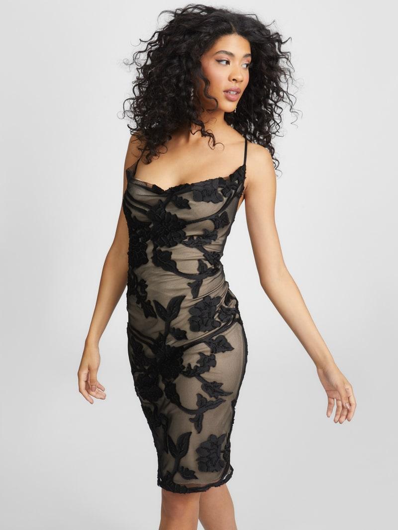 Allayna Cowl Neck Lace Dress