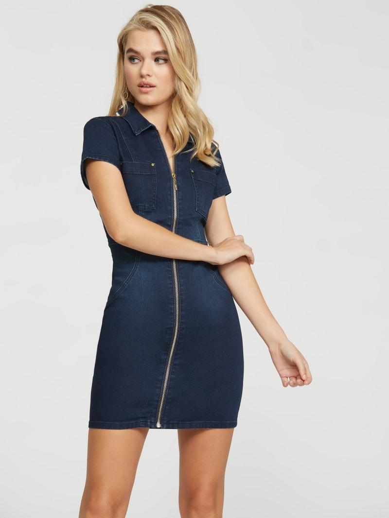 Whitley Denim Front-Zip Dress