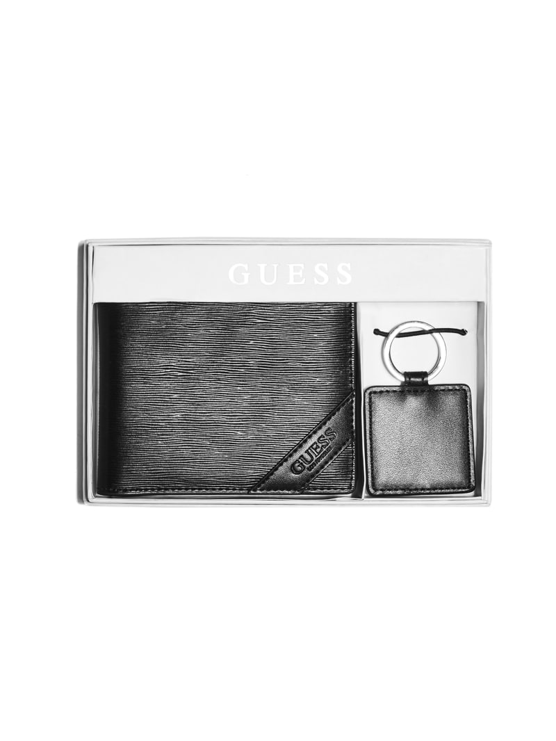 Textured Wallet And Keychain Box Set