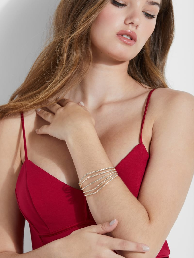 Rhinestone Pointed Flexi Cuff Bracelet