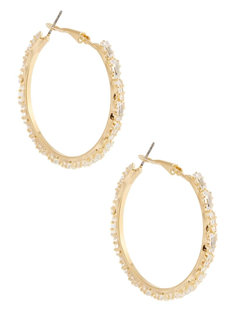14KT Baguette Stone Hoop Earring