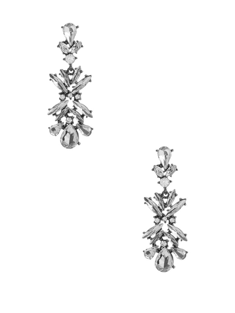 Troy Silver-Tone Crystal Hematite Earring