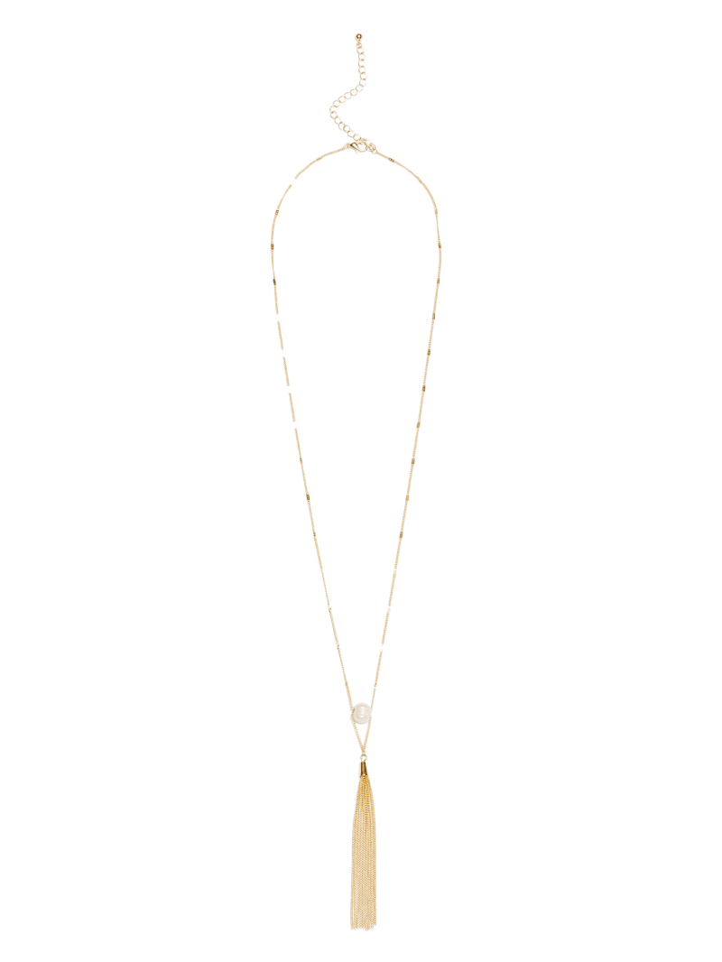 Gold-Tone Baroque Freshwater Pearl & Tassel Necklace