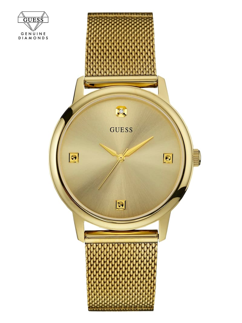 Gold-Tone Slim Mesh Diamond Watch