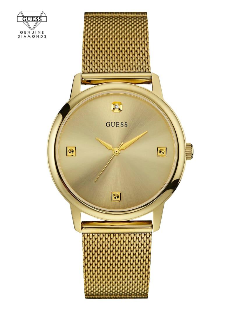 Gold-Tone Slim Mesh Diamond Watch