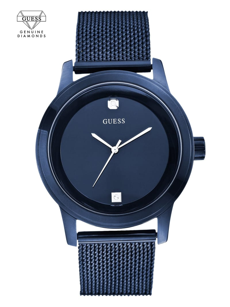 Blue Round Diamond Mesh Watch