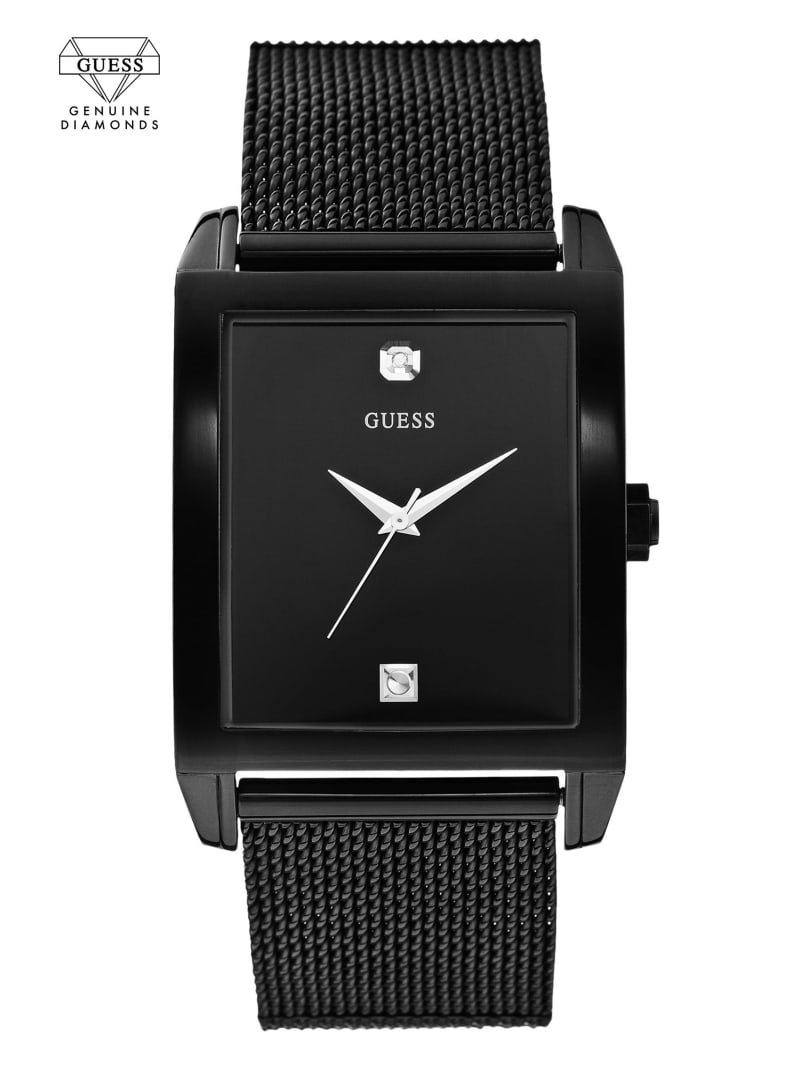 Black Mesh Diamond Analog Watch