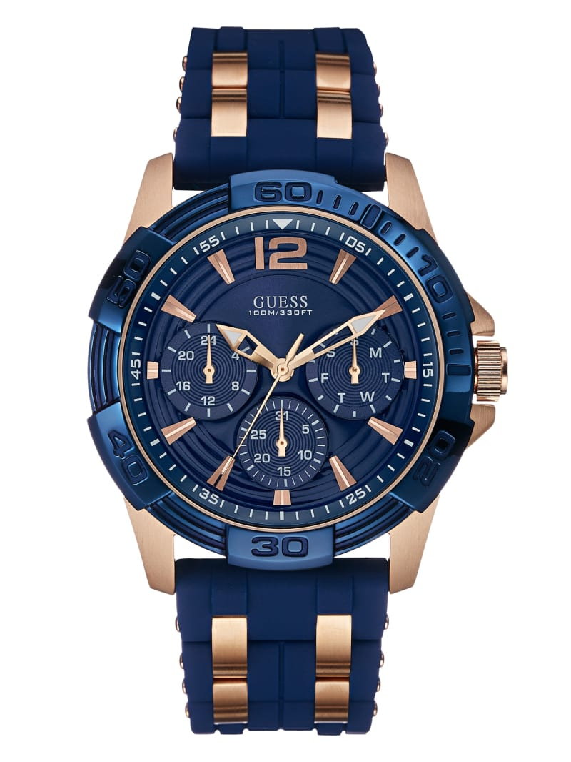 Blue and Rose Gold-Tone Sport Watch
