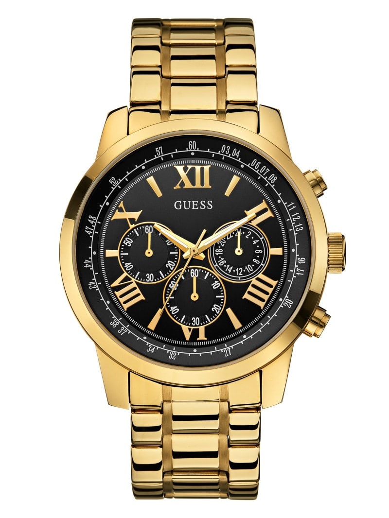 Black and Gold-Tone Classic Chronograph Sport Watch