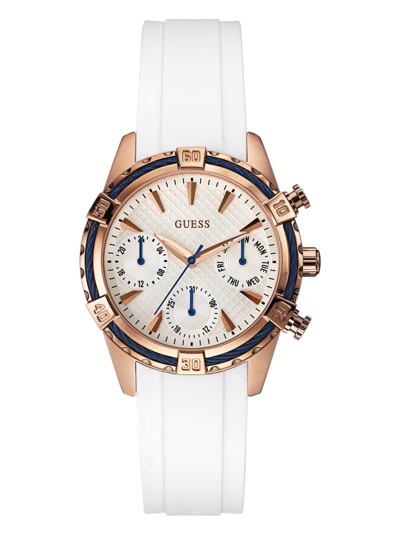 White And Rose Gold-Tone Multifunction Watch