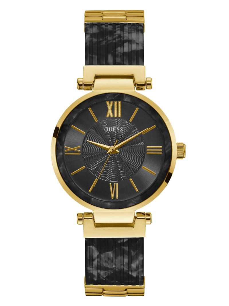 Gold-Tone And Black Analog Watch