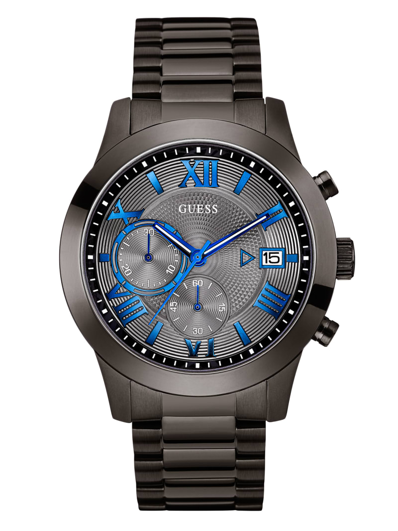 Gunmetal-Tone Modern Chronograph Watch